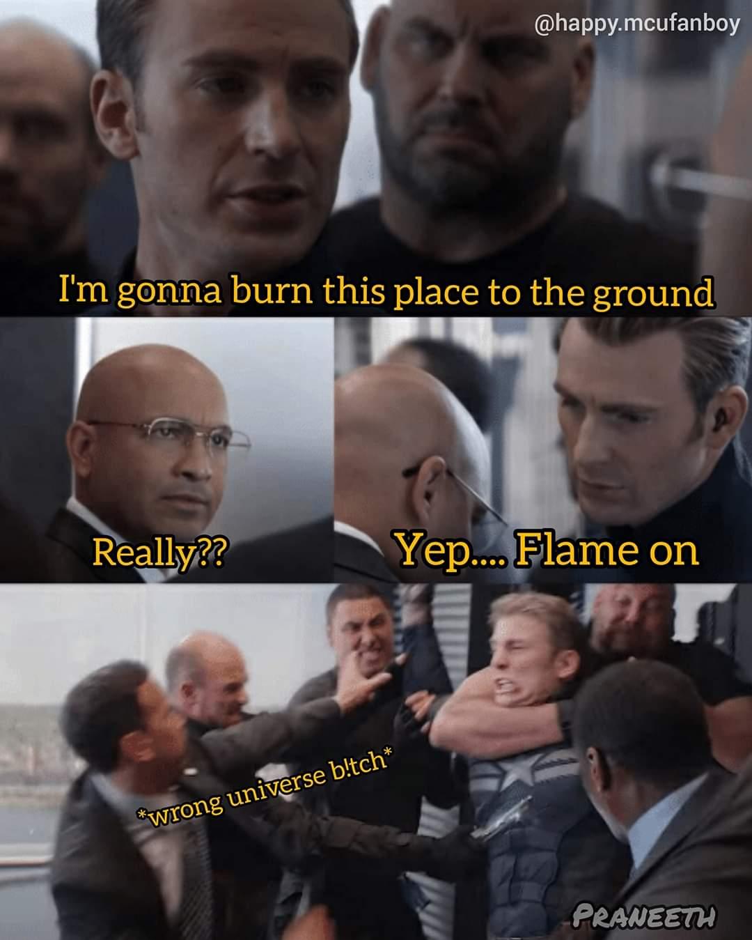 Flame on captain america dad joke