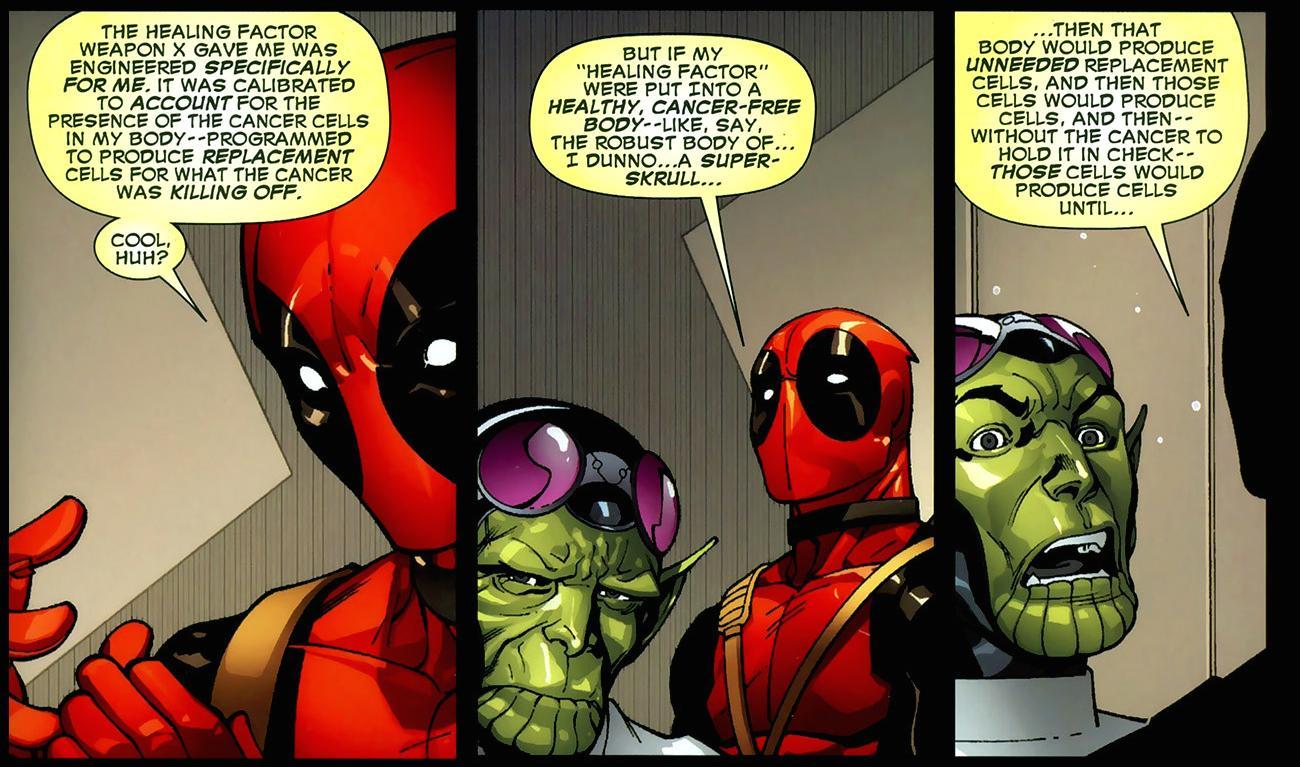 Deadpool talks about his healing factor