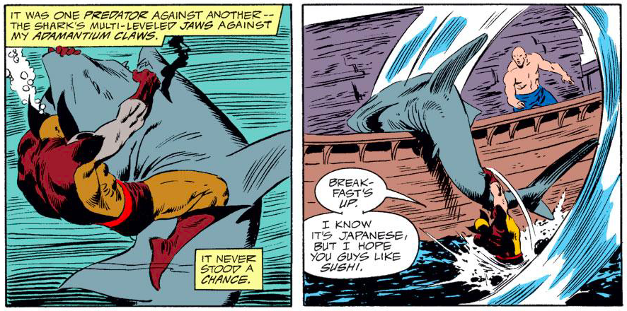wolverine throws a shark